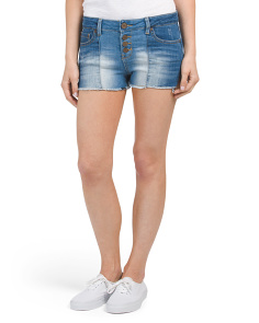 Juniors Button Front Raw Hem Shorts