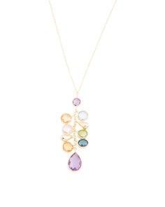 Made In Italy 14k Gold Multi Gemstone Drop Necklace