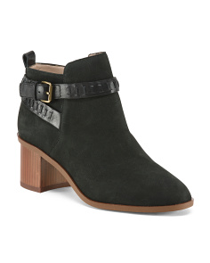 Block Heel Nubuck Leather Booties