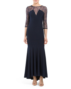 Petite Made In USA Lace Gown