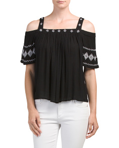 Juniors Cold Shoulder Embroidered Top
