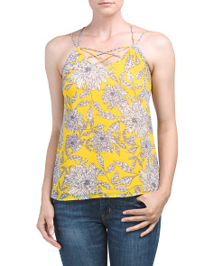 Juniors Floral Criss Cross Tank