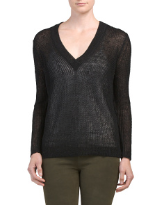 Caitlin Linen V-neck Sweater