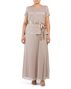 Plus Glitter Lace Bodice Dress
