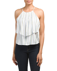 Juniors Double Ruffled Top