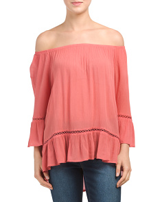 Off The Shoulder Faded Rose Top