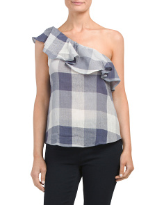 Juniors One Shoulder Buffalo Check Top