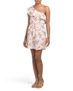 Juniors One Shoulder Floral Dress