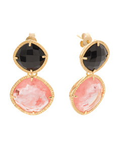 Made In Bali 14k Gold Plate Silver Onyx Cherry Quartz Earrings