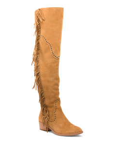 Tall Fringed Suede Boots
