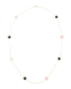 Made In Bali 14k Plate Silver Onyx Cherry Quartz Necklace
