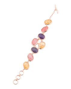 Made In Bali 14k Rose Gold Plate Silver Multi Gemstone Bracelet