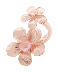 Made In Bali Rose Gold Plated Sterling Silver Flower Bypass Ring