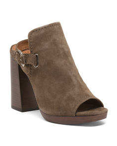 Suede Block Heel Peep Toe Booties
