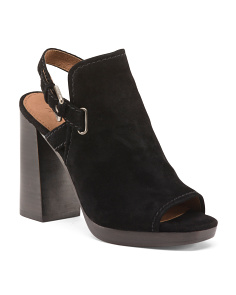 Peep Toe Suede Block Heel Booties