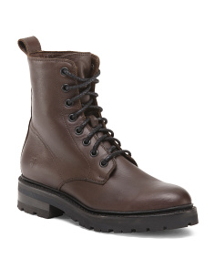Julie Leather Combat Boots
