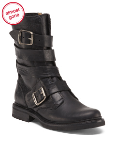 Veronica Tanker Leather Buckled Boots
