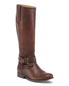 Flat Leather Riding Boots