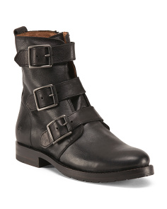 Natalie Triple Buckle Leather Booties