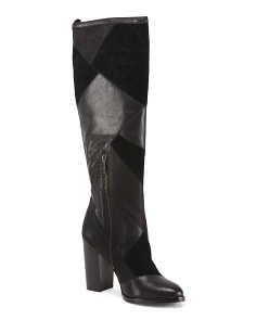 Tall Leather Patchwork Boots