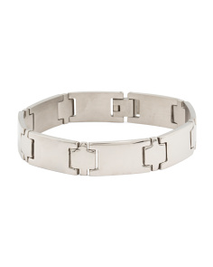 Men's Stainless Steel Polished Flat Link Bracelet