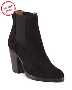 Side Gore Suede Heeled Booties