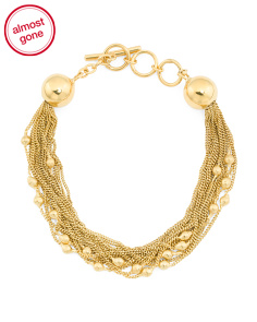 Made In Bali 14k Gold Plate Silver Multi Chain Bead Bracelet