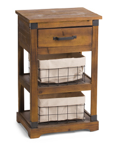 Storage Side Table With Baskets