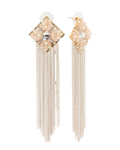Crystal Square Top Fringe Earrings