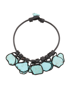 Turquoise Tile Faux Leather Necklace