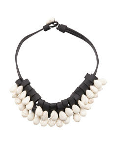 White Turquoise Drops Leather Necklace
