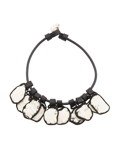 White Turquoise Tile Faux Leather Necklace