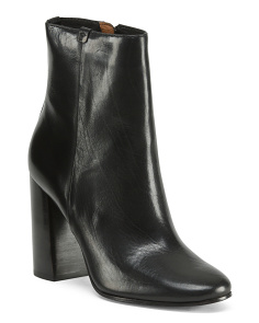 Block Heel Leather Booties