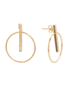 Made In Italy 14k Gold Circle Bar Earrings