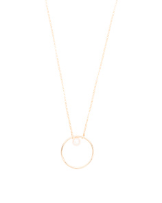 Made In Italy 14k Gold Pearl Open Circle Necklace