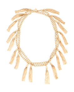 14k Gold Plated Hazel Long Multi Tassel Necklace