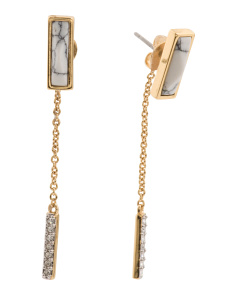 14k Gold Plated Kacee Howlite Linear Earrings
