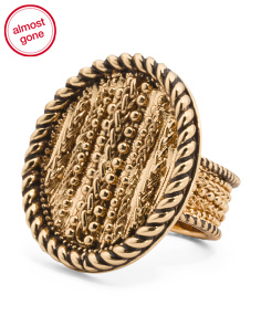 14k Gold Plated Laura Textured Statement Ring