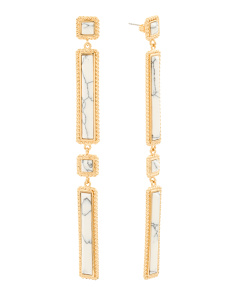 14k Gold Plated Nadia Stone Linear Drop Earrings