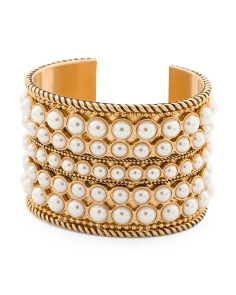 14k Gold Plated Pearl Cuff Bracelet