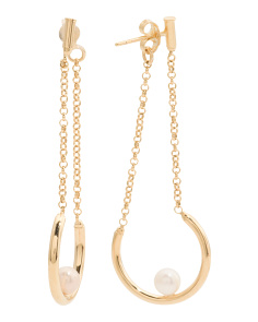 Made In Italy 14k Gold Pearl Chain And Curved Bar Earrings