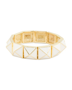Gold And White Enamel Pyramid Bracelet