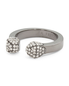 Gunmetal Cubic Zirconia Stud Open Ring