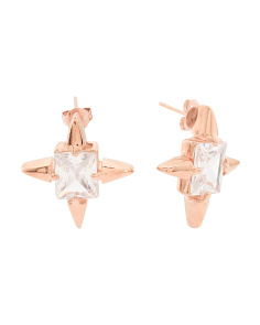 Rose Gold Cubic Zirconia Starburst Earrings
