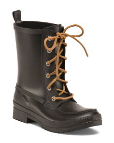 Lace Up Mid Shaft Rain Boots