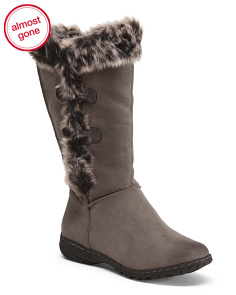 Mid Shaft Boots With Faux Fur