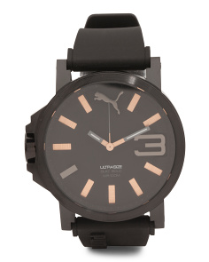 Men's Black Case Rose Gold Accent Sport Watch