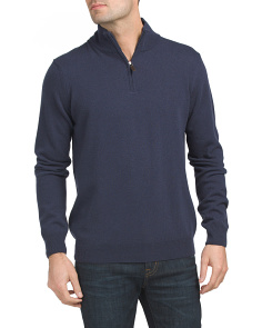 Made In Italy Quarter Zip Cashmere Sweater