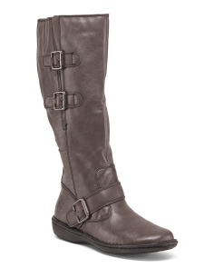 High Shaft Boots With Buckle Detail