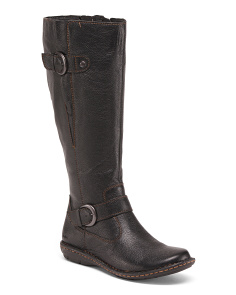 Wide Calf Leather Boots With Buckle